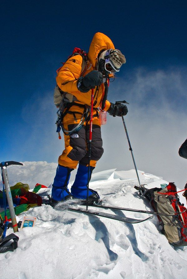 """""""Kit DesLauriers getting ready to """"drop in"""" off the summit of Everest. He had chosen to climb and ski in the post-monsoon season for better snow conditions, as they were the only team on the mountain at the time."""" Photograph by Jimmy Chin."""
