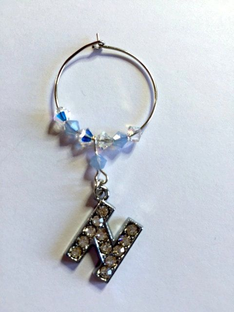 Letter 'N' Wine Glass Charm - with Swarovski Crystals - birthstone gift idea by Makewithlovecrafts on Etsy