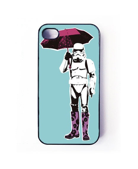 Star Wars, stormtrooper with umbrella pop art,  iPhone 4 case and iPhone 4s case, iPhone 4 and 4s cover. $15.99, via Etsy.
