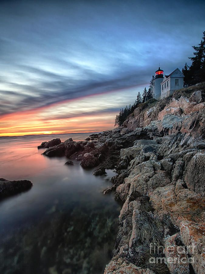 bass harbor head lighthouse maine fars al capvespre nit. Black Bedroom Furniture Sets. Home Design Ideas