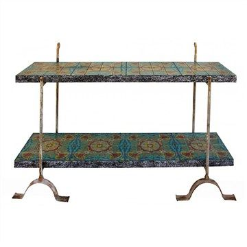 Cabrera Tile Top Rustic Iron Console Table