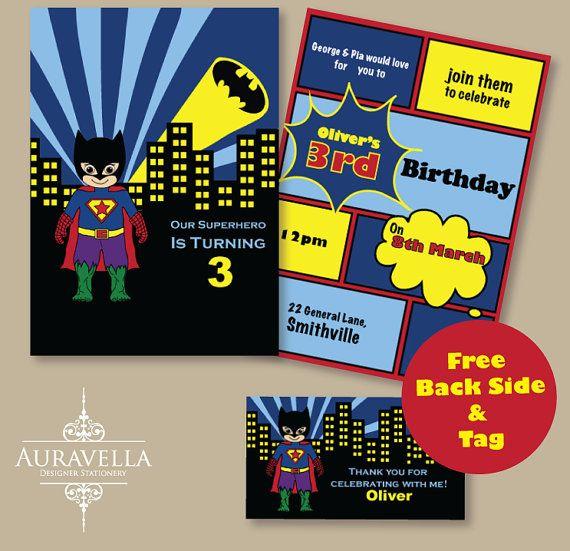 SUPERHERO invitation. Printable birthday invitation, Batman invitation, Superman invite, Hulk party invitation, boys or kids invitation.