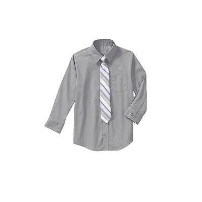George Boys' 2 Pc Dress Shirt Tie Set, Grey W/Purple/Grey Tie, Large