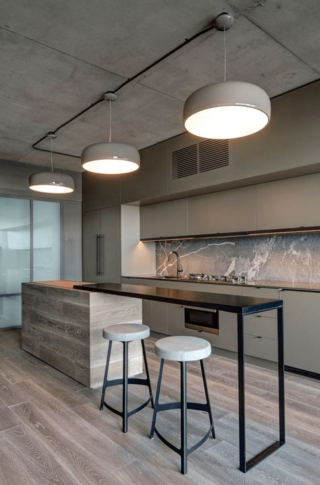 taupe interior modern kitchen, black accents, sherwin williams poised taupe, exposed concrete ceiling