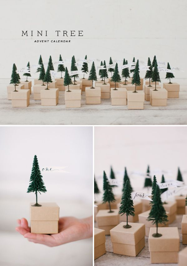 Cute DIY advent calendar with boxes and small trees.