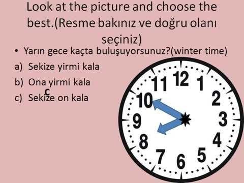 Turkish lessons telling the time 6 saatler herhangi 1 geçe 6