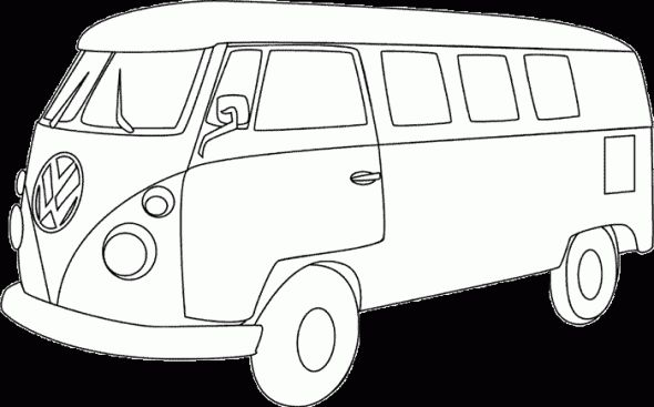 For Karl :) VW Bus - Hippie flower power van adult coloring page
