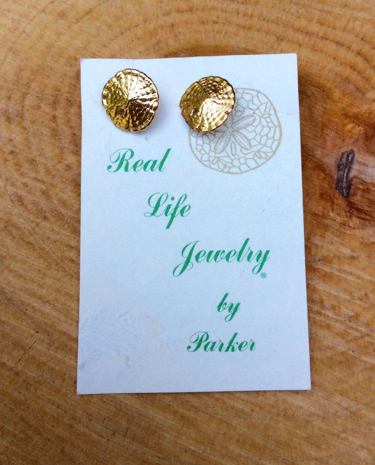 Gold Sand Dollar Earrings - Vintage 14K Gold Plated Brass Sand Dollar and Posts - Gold Plated Hypo Allergenic Stoppers by TheBuffaloVintage on Etsy