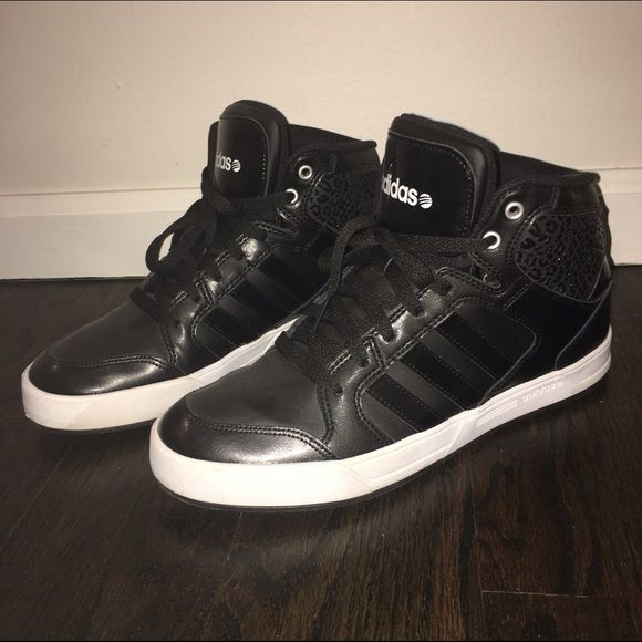 ADIDAS Neo High Tops ADIDAS Neo high tops with black leopard detail. Size 10. Worn 3 times. In excellent condition with no scuffing or black marks. Adidas Shoes Sneakers