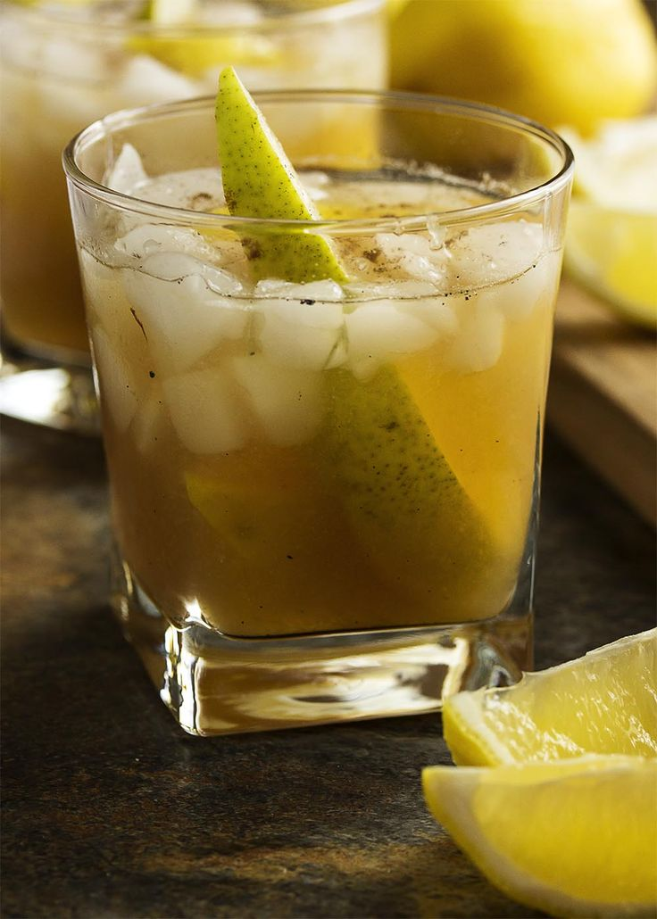 This pear bourbon cocktail smashes together overripe pears with maple syrup, allspice, and bourbon to make a great fall cocktail.   justalittlebitofbacon.com