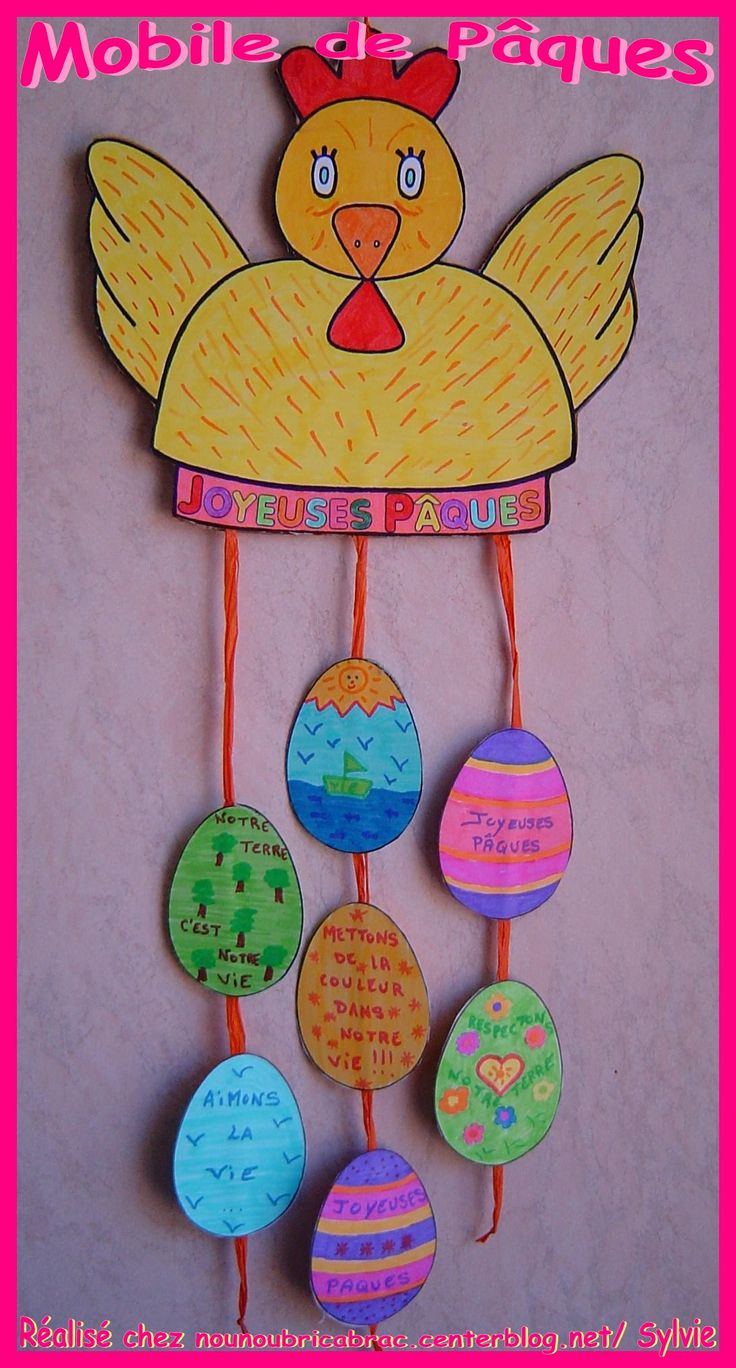 Easter egg mobile. decorazione con gallina e ovetti
