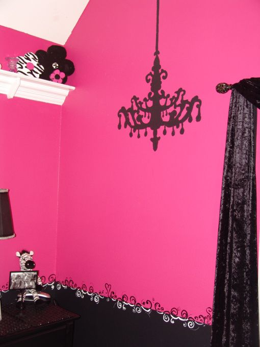 Pink and Black Teen Zebra Girls Bedroom. I like the idea of the chandelier painted on the wall instead of hanging. Can't break it if it's painted . And you don't have to change the light bulbs , and you can still have a ceiling fan . I need a ceiling fan . Texas heat is too much without one