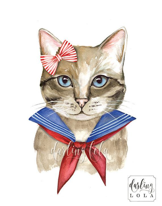 Sweet Retro Sailor Kitty Art print. This is a print of my original watercolor illustration.   Print Details:  Available in 8x10 or 11x14