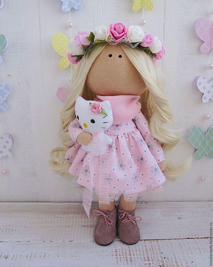 Купить Куколка с китти - бледно-розовый, белый, розовый, интерьерная кукла, интерьерная игрушка