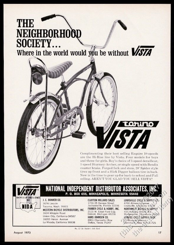 1973 Vista Torino bike banana seat bicycle photo vintage print ad | Collectibles, Transportation, Bicycles | eBay!