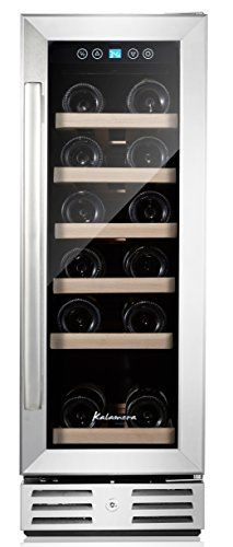 Kalamera 12 Wine refrigerator 18 Bottle Builtin or Freestanding with Stainless Steel  DoubleLayer Tempered Glass Door * Check this awesome product by going to the link at the image.