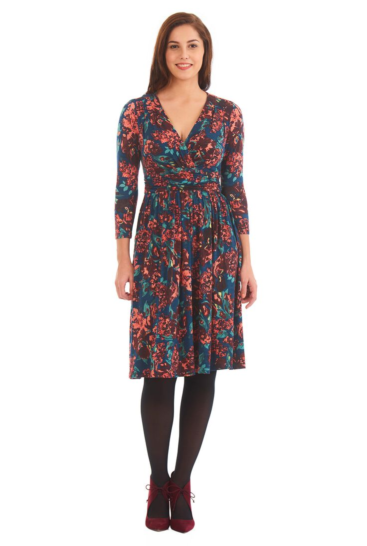 Our floral print jersey knit dress is cut with a flirty pleated surplice bodice and flattering ruched pleat inset waist for feminine detailing.
