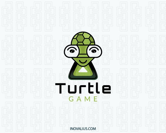 Turtle Game is a logo with a stylized form of a turtle with green and black colors.(game, turtle, animal, green, match, tortoise, game apps, nature, play, pet shop, logo for sale, logo design, logo, logotipo).
