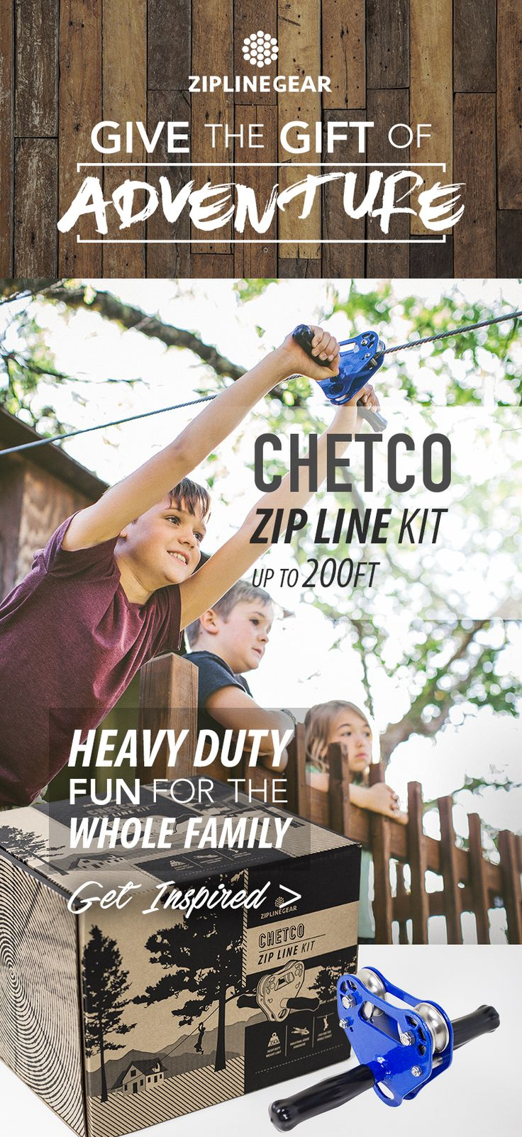 The Chetco Kit is the most basic zip line kit of ZipLineGear's kit series, boasting a 350LB weight limit and built to last! Zip Lining gets the whole family outdoors for the ultimate backyard activity.