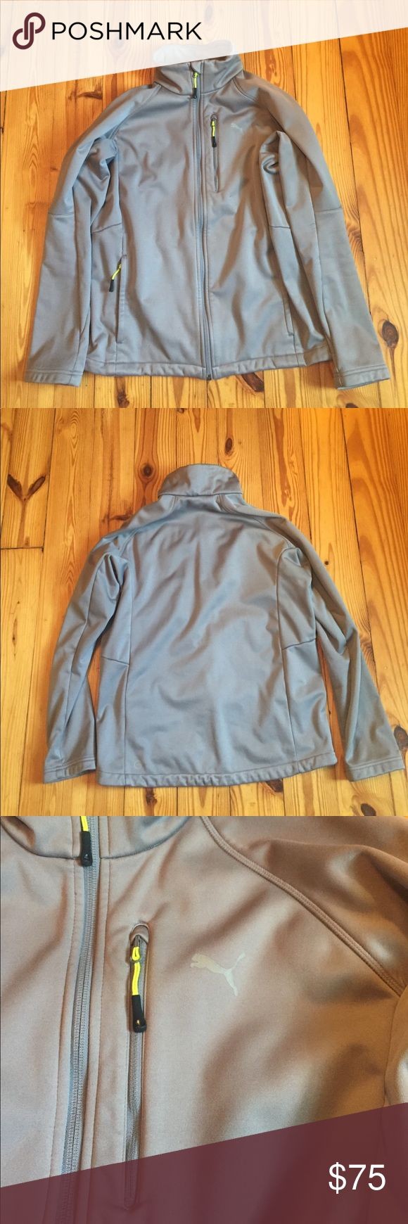 Grey Puma Jacket Jacket is unexpectedly warm and just in general, good quality. On top of the regular two pockets, it features a very handy chest pocket. The size on the jacket is medium and fits like a normal medium. Puma Jackets & Coats Performance Jackets