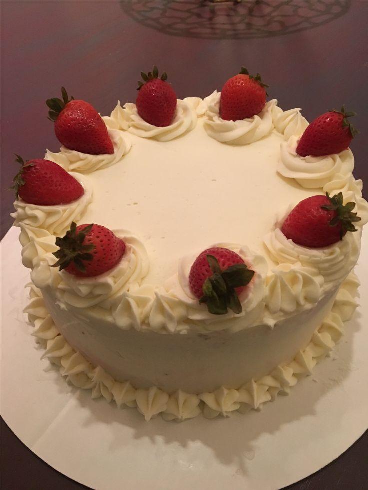 Caitlin's birthday cake strawberry cake, cream cheese