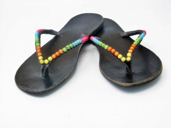 Leather Flip Flops - #Women #Sandals SALE Greek Sandals - Boho Sandals - Handmade Sandals - Embellished Flat Sandals - Flat Sandal Beaded  Special SALE !!! Only until 30/7 25... #clothing #shoes #women #sandals
