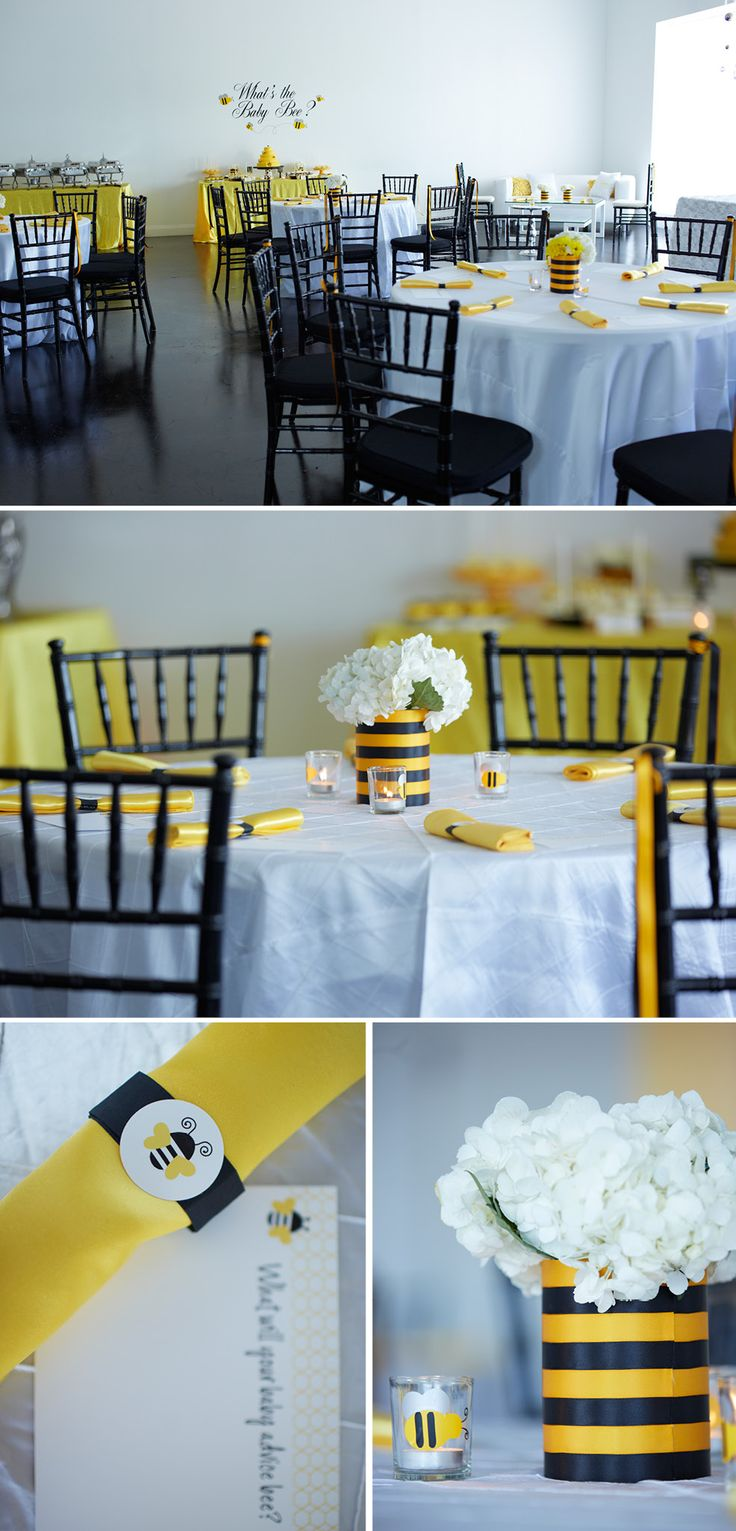 bee_themed_baby_shower_room_decor_black_chairs_white_tablecloths