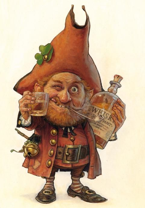 Clurichaun! - less well known than his cousin the Leprechaun, this wee fellow is best known as a jolly drinking companion to old Irish barflies.  But careful, he's full of tricks and loves to play pranks.