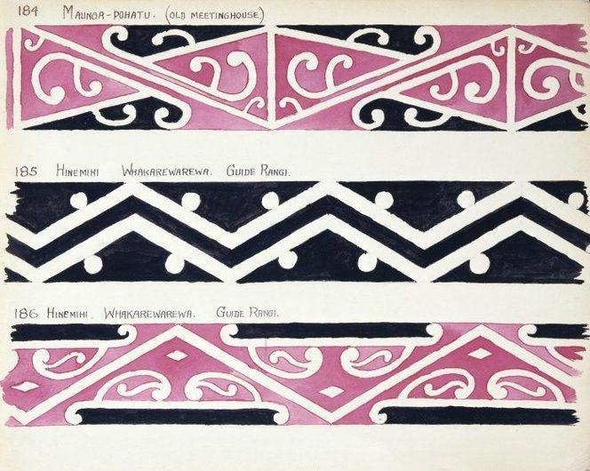 Maori wharenui | ... Maori rafter patterns]. The bottom two are from the Hinemihi wharenui