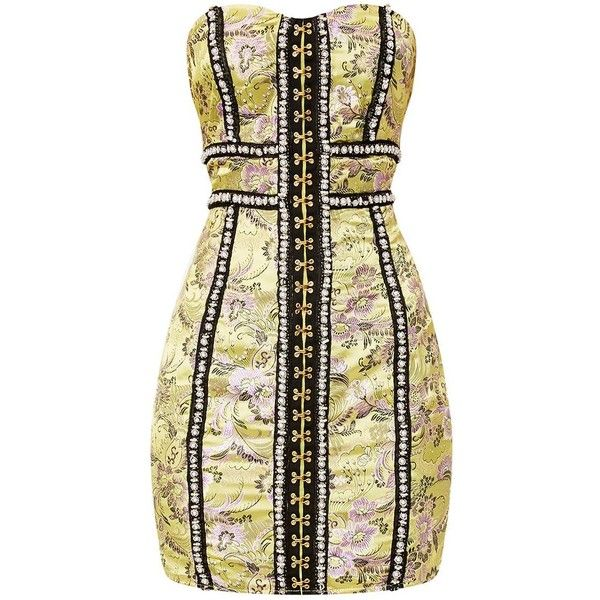 Melysia Lime Premium Oriental Satin Bandeau Mini Dress (€91) ❤ liked on Polyvore featuring dresses, satin mini dress, lime dress, beige dress, bandeau dress and beige short dress