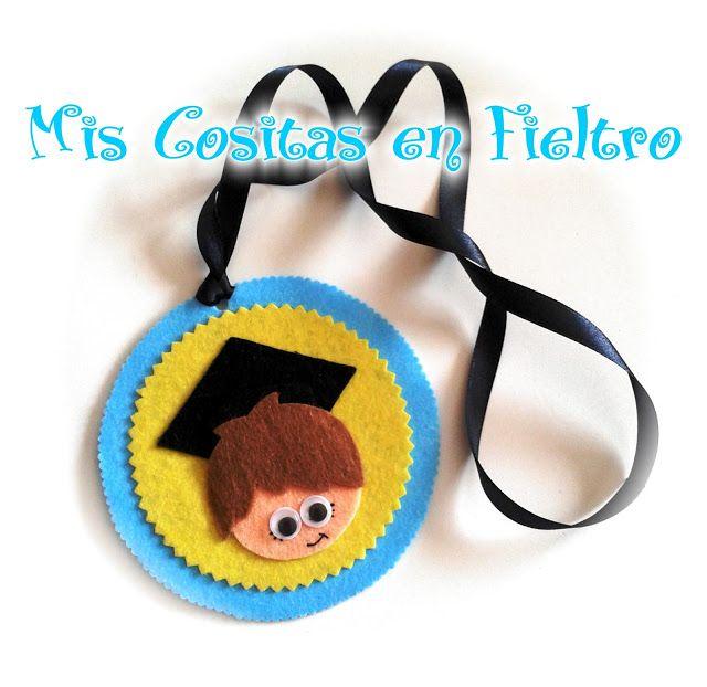 medalla, graduación, graduado, fin de curso, detalle, curso, fieltro