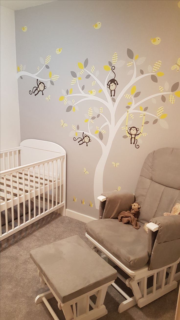 Best 25 grey wall stickers ideas on pinterest baby room wall premium self adhesive fabric nursery wall decals featuring one of our monkey trees and branch in amipublicfo Gallery