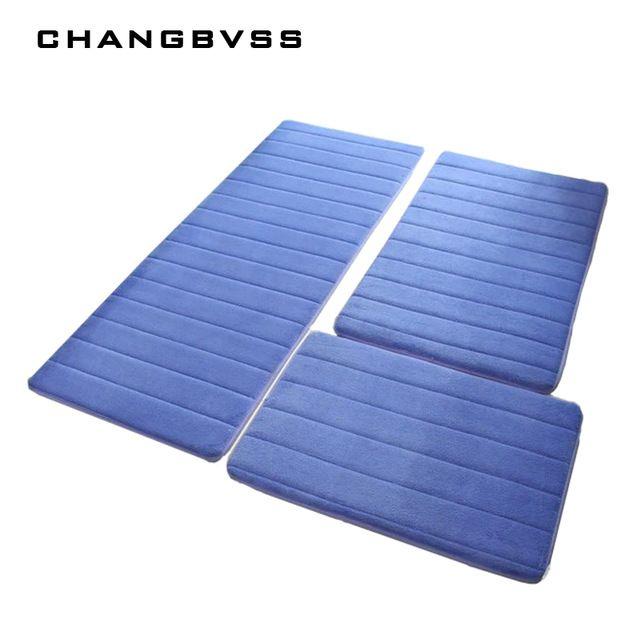 3pcs Set Non Slip Memory Foam Bath Mat Carpet Bedroom Rug Door Way
