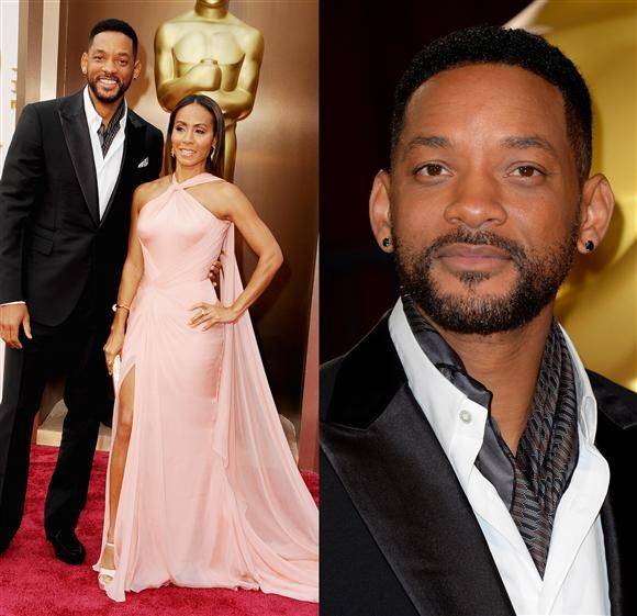 """Yes, yes, Jada Pinkett Smith emanated peachy keeness in this Versace halter creation. But what we really want to focus on is the strip of material around Will Smith's neck. Is that a cravat? An ascot? How do we tell the difference without the help of a Victorian heroine determined to land a wealthy husband? We're so confused, almost as confused as we were watching Will's Razzie-winning """"After Earth."""""""