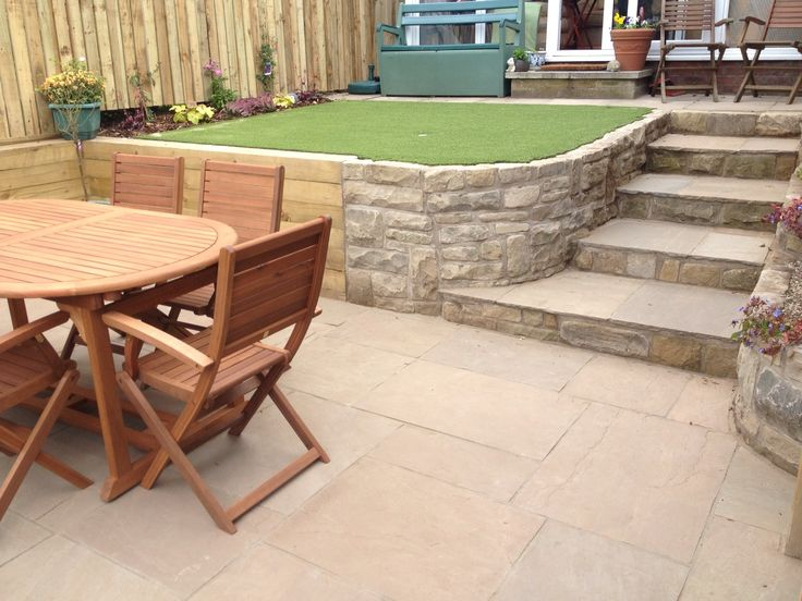 Recently finished, a very small split level garden in the centre of York using sleepers and natural stone