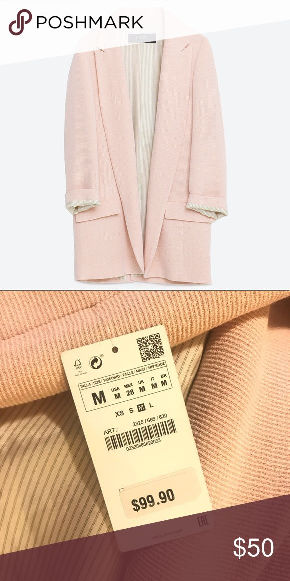 ZARA // Baby Pink Blazer Blogger fave* Sold out online. Perfect for layering. Brand new with tags. Zara Jackets & Coats Blazers
