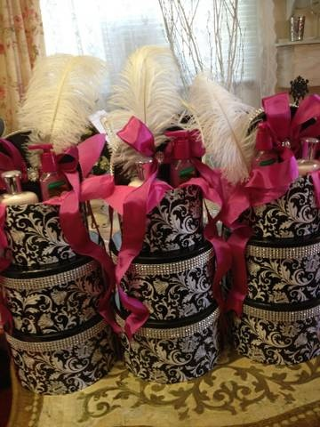 Hatboxes With Feathers