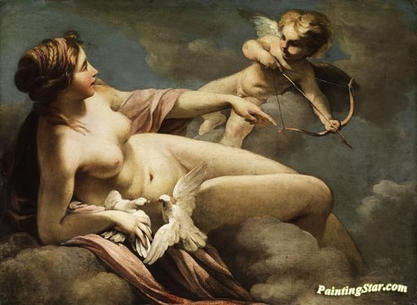 Venus and cupid Artwork by Sebastiano Ricci Hand-painted and Art Prints on canvas for sale,you can custom the size and frame