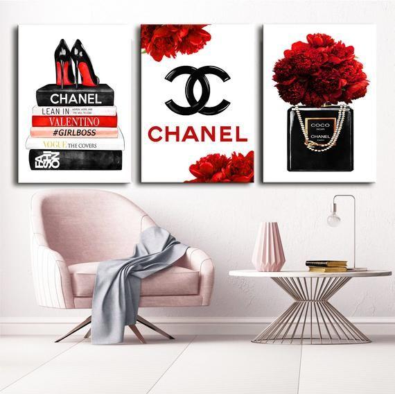 Fashion Wall Art Fashion 3 Set Print Canvas Wall Art Chanel Etsy Fashion Wall Art Bedroom Decor Fashion Wall Art Chanel Wall Art