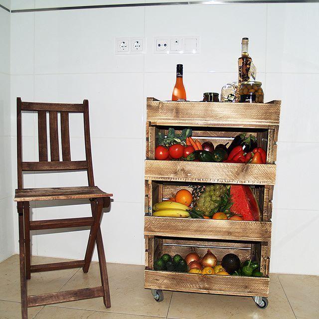 Carrito Modular Para Verduras Y Frutas Hecho De Madera De Palet Muebles Decoracion Cocina Decoration Mobiliario De Cocina Muebles Modulares Muebles