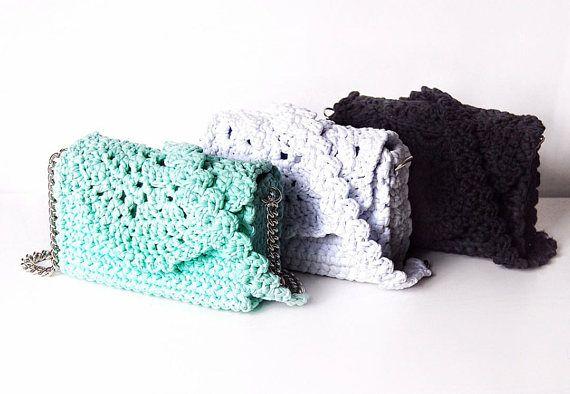 White little shoulder clutch  Lace crochet wedding handbag