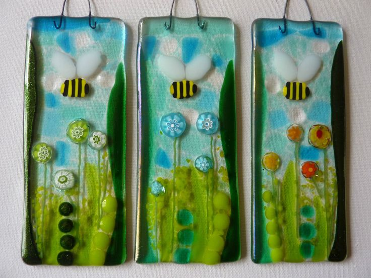 Fused Glass Bumble Bee & Millefiori Flowers Sun Catcher Picture Tile Gift   eBay
