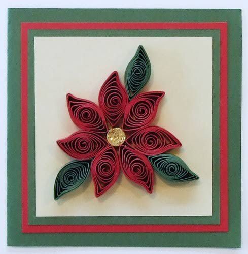 Rolled paper poinsettia for scrapbooks and cards for Easy quilling designs step by step