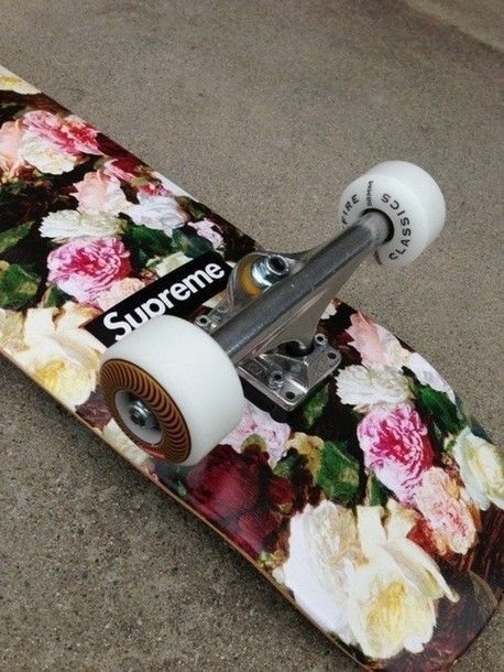 Shoes: supreme skateboard, vintage, skater, skate, skateboard, skates, supreme, flowers, floral, jewels - Wheretoget