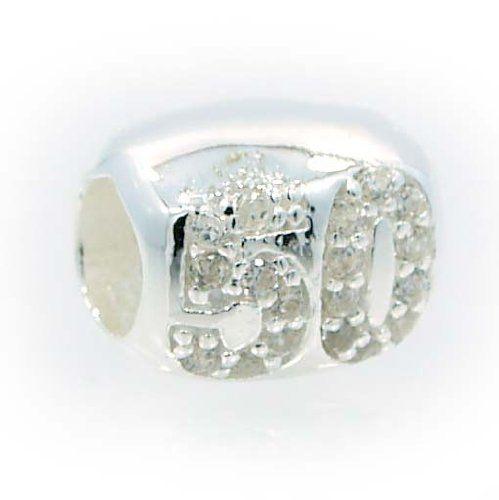 2f75d4571 ... 50 Birthday Fifty ANNIVERSARY Pandora bead Charm .925 Sterling Silver  ...