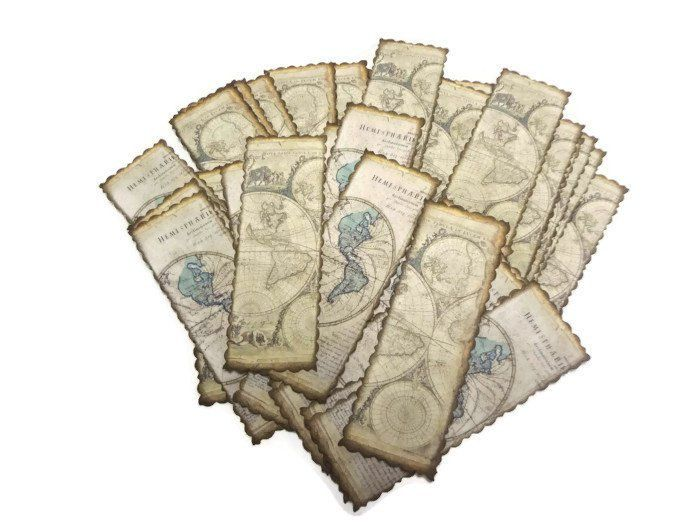 20 Travel Themed Party Favors  Antique Maps Bookmarks