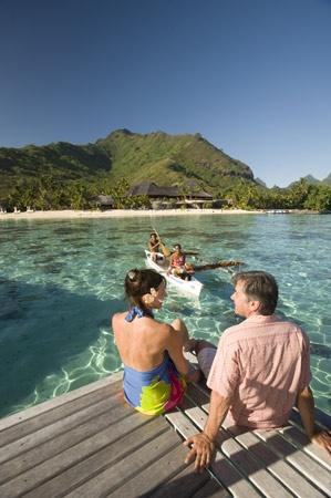 Breakfast Delivered by Outrigger Canoe, Bora Bora, Tahiti