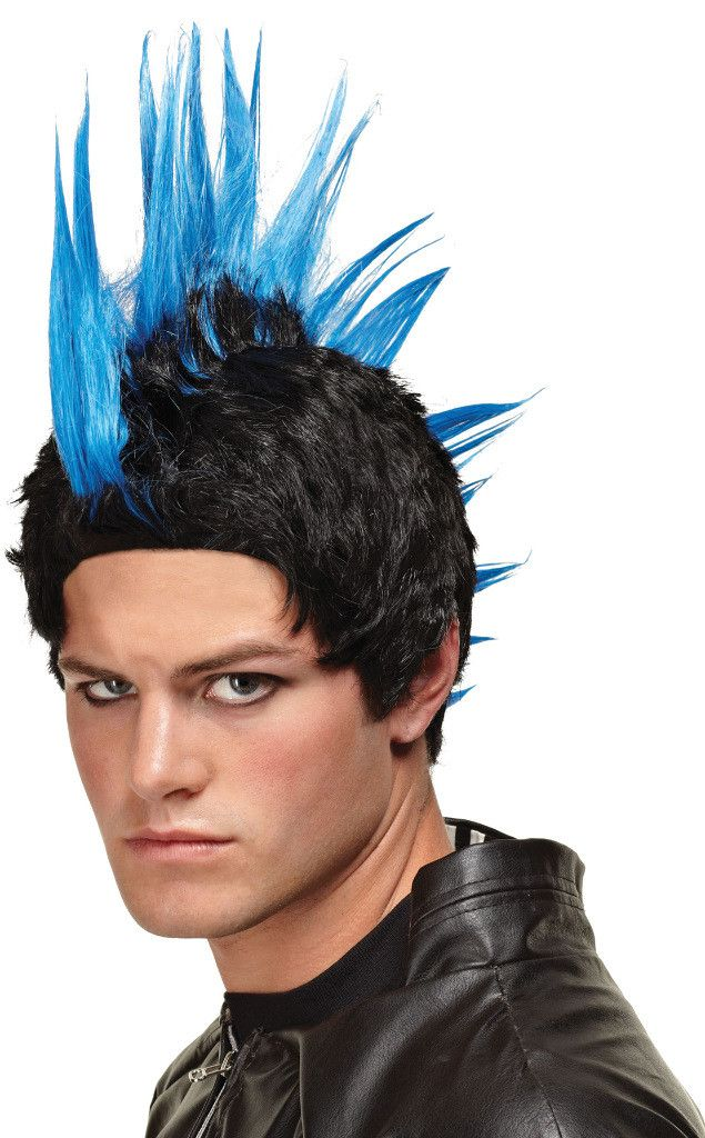 costume accessory: wig blue punk rocker Case of 2