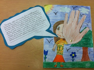 A waving hand and goodbye paragraph. Could also be a good back to school bulletin board. Kids write about themselves as an introduction...then the waving picture is inviting!