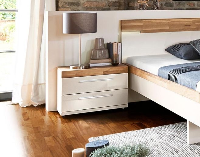 Arte M Feel Solid Oak And High Gloss White Or Grey Modern Bedside Cabinet.